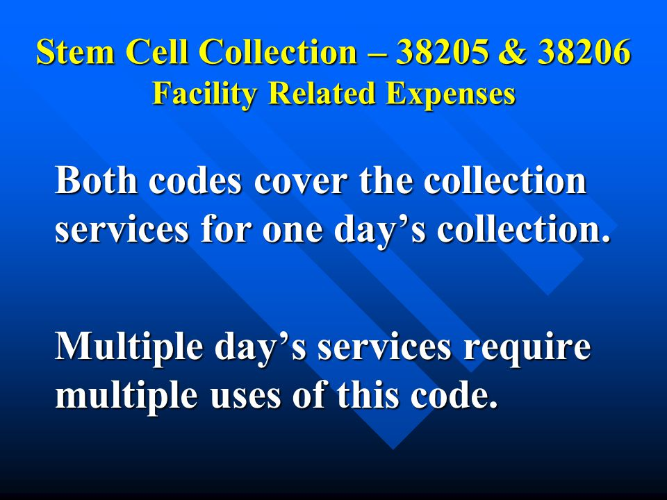 Stem Cell Collection – 38205 & 38206 Facility Related Expenses