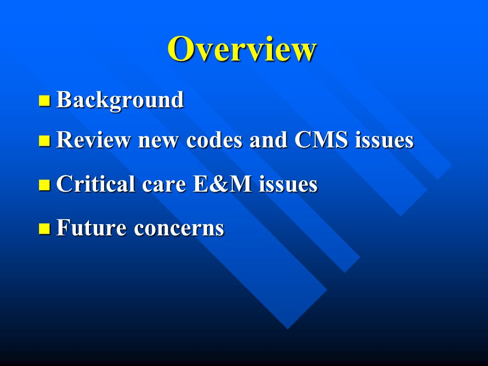 Overview Background Review new codes and CMS issues