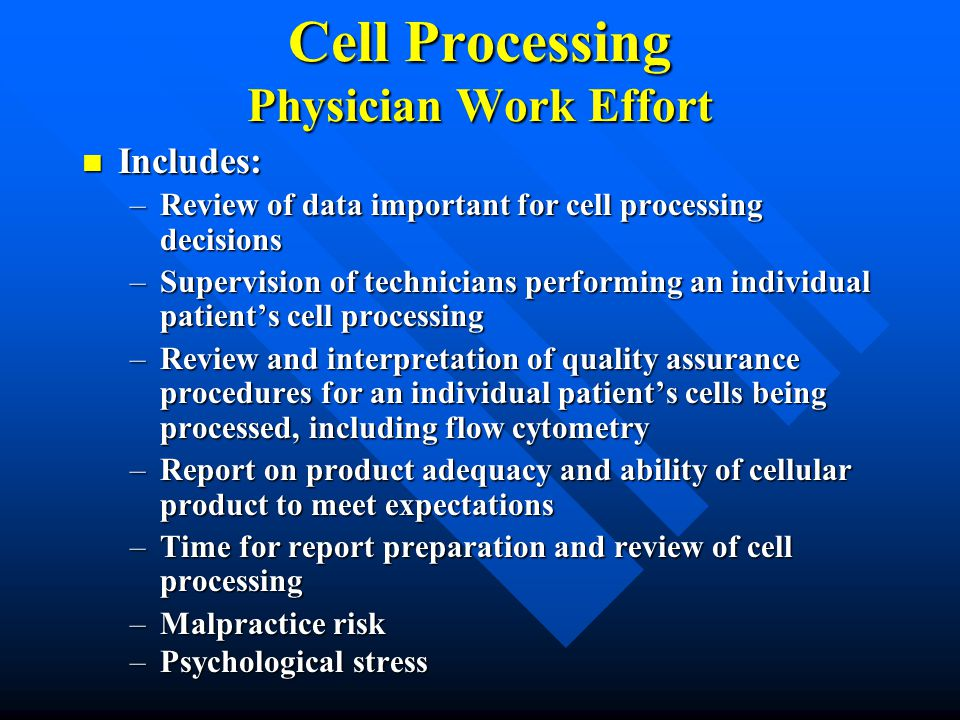 Cell Processing Physician Work Effort