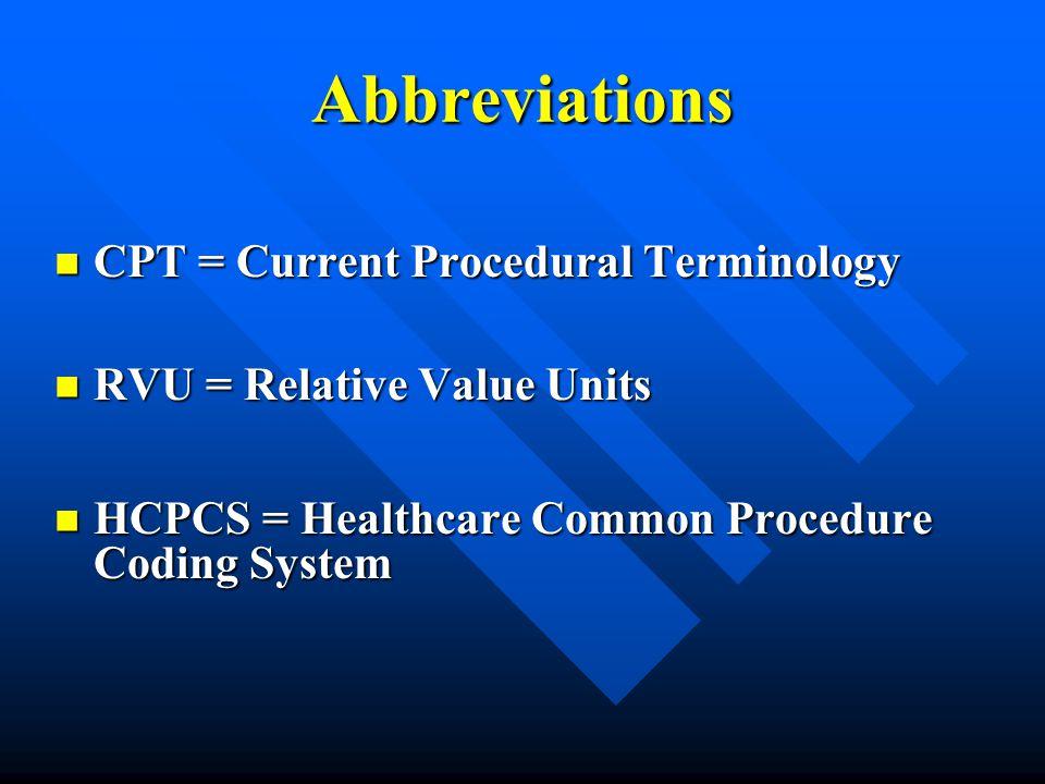 Abbreviations CPT = Current Procedural Terminology
