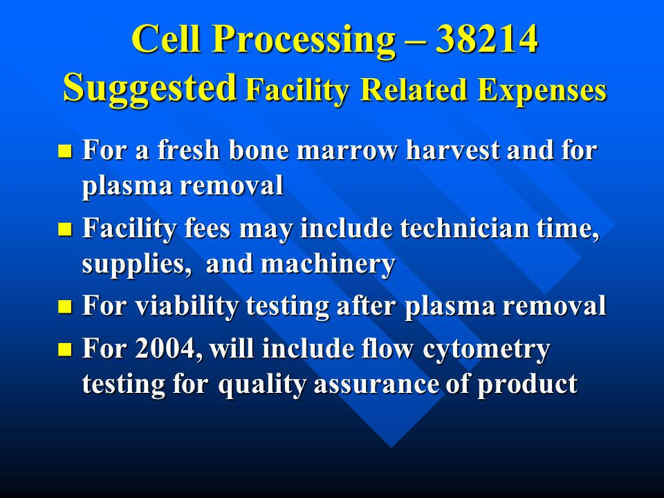 Cell Processing – 38214 Suggested Facility Related Expenses