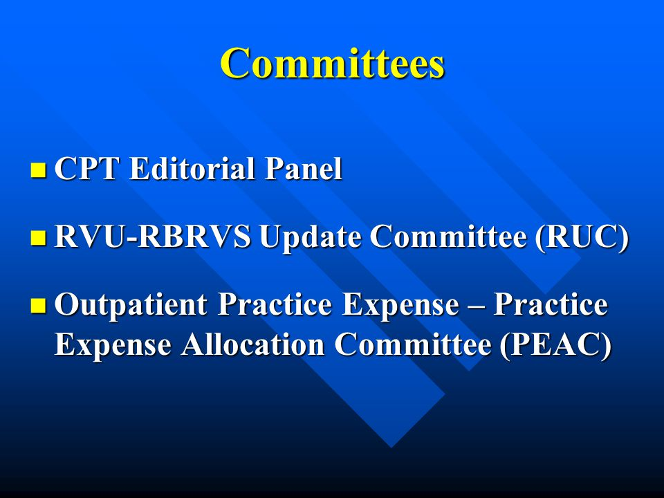 Committees CPT Editorial Panel RVU-RBRVS Update Committee (RUC)