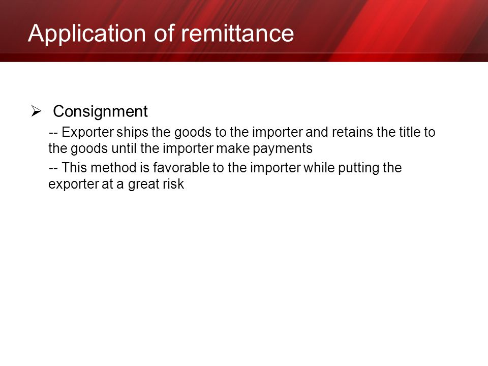 Application of remittance