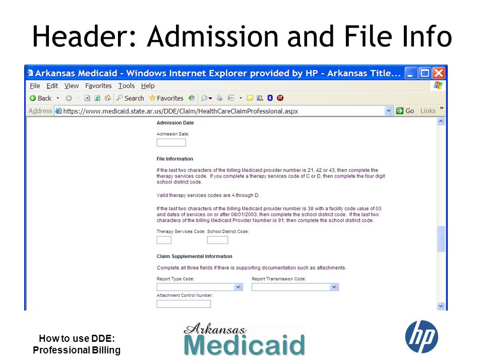 Header: Admission and File Info
