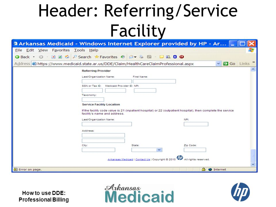 Header: Referring/Service Facility