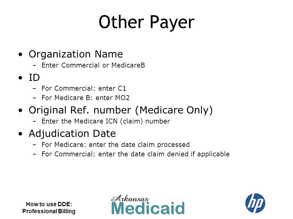 Other Payer Organization Name ID Original Ref. number (Medicare Only)