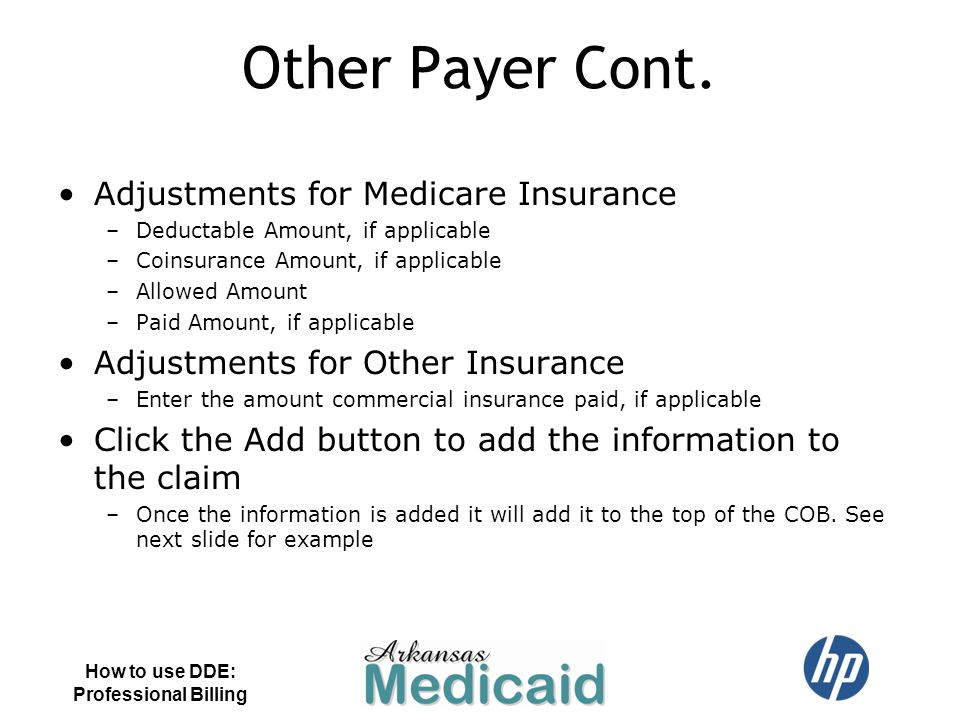 Other Payer Cont. Adjustments for Medicare Insurance