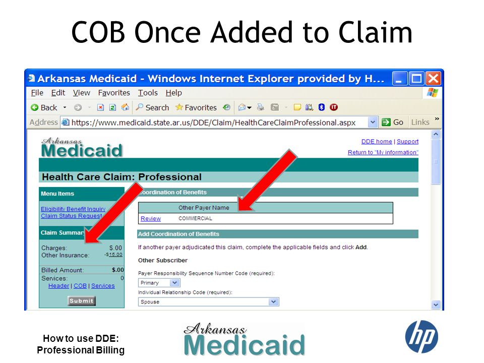COB Once Added to Claim How to use DDE: Professional Billing