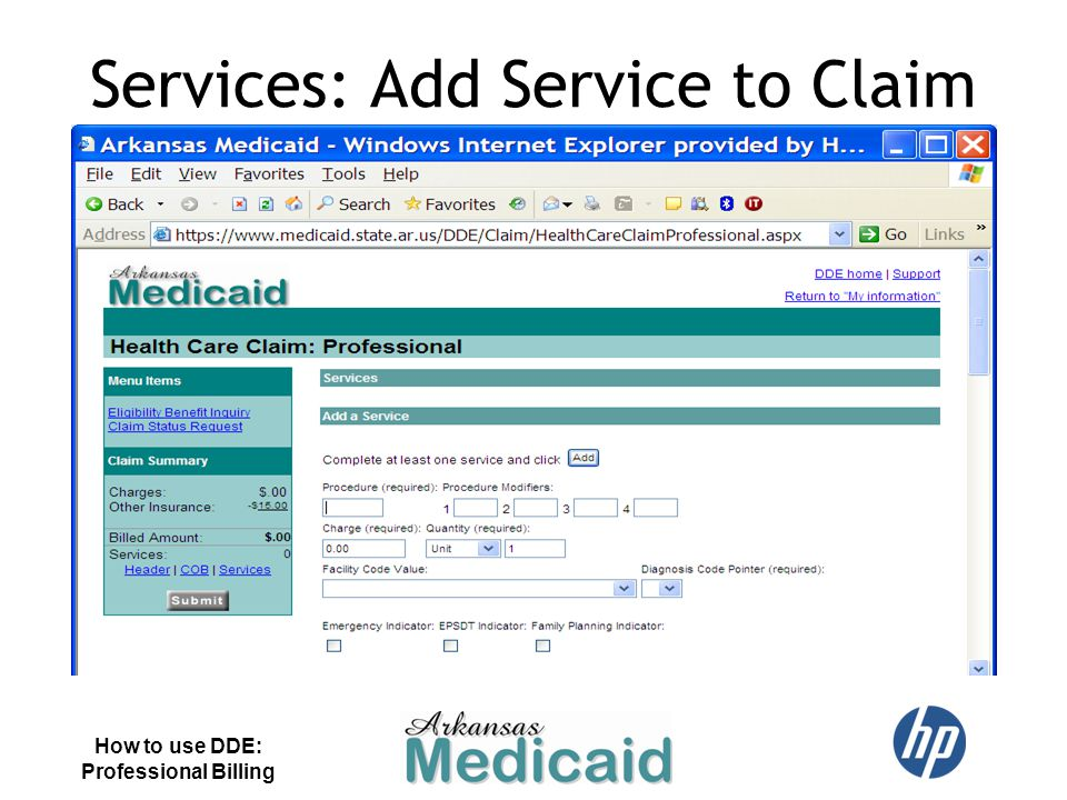 Services: Add Service to Claim