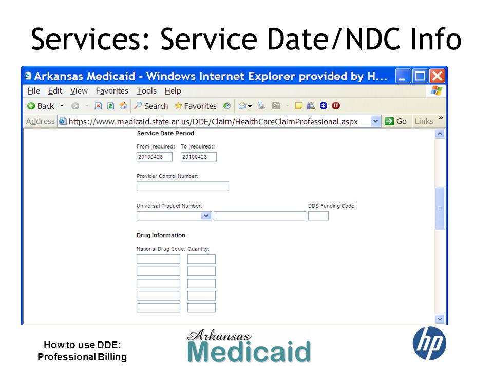 Services: Service Date/NDC Info