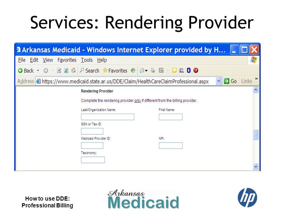Services: Rendering Provider