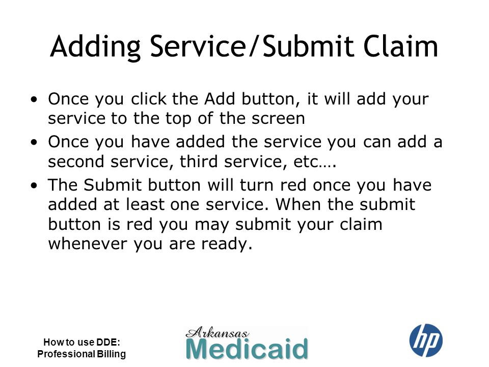 Adding Service/Submit Claim