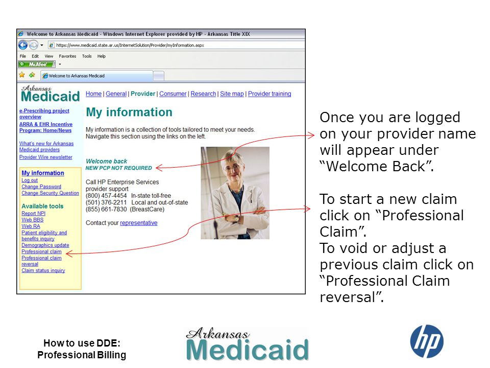 To start a new claim click on Professional Claim .