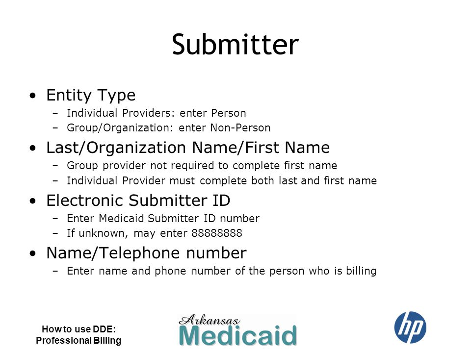 Submitter Entity Type Last/Organization Name/First Name