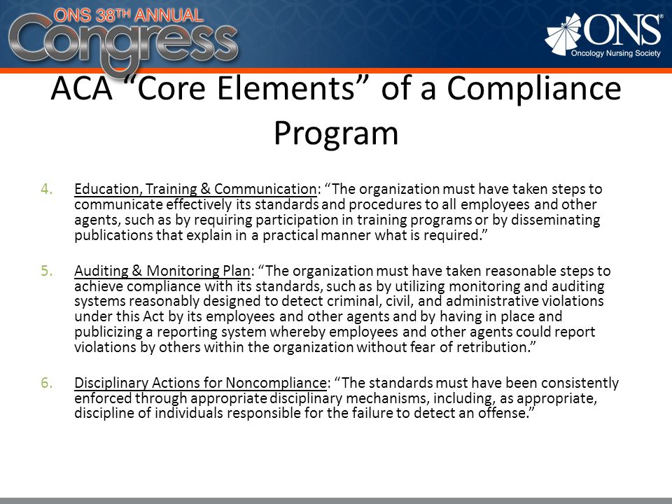 ACA Core Elements of a Compliance Program