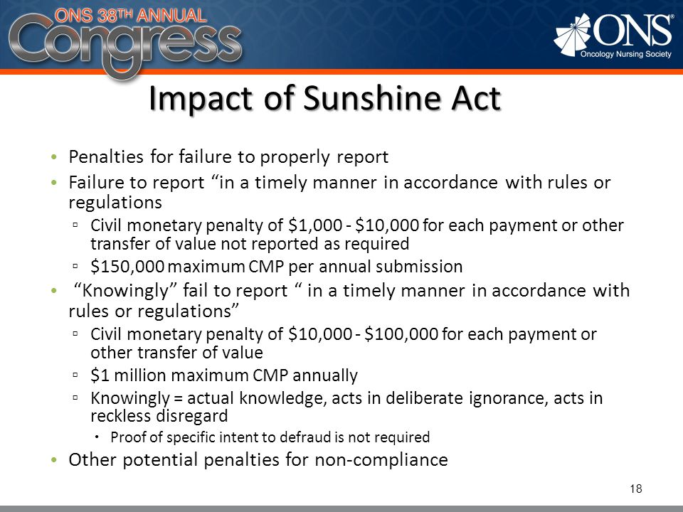 Impact of Sunshine Act Penalties for failure to properly report
