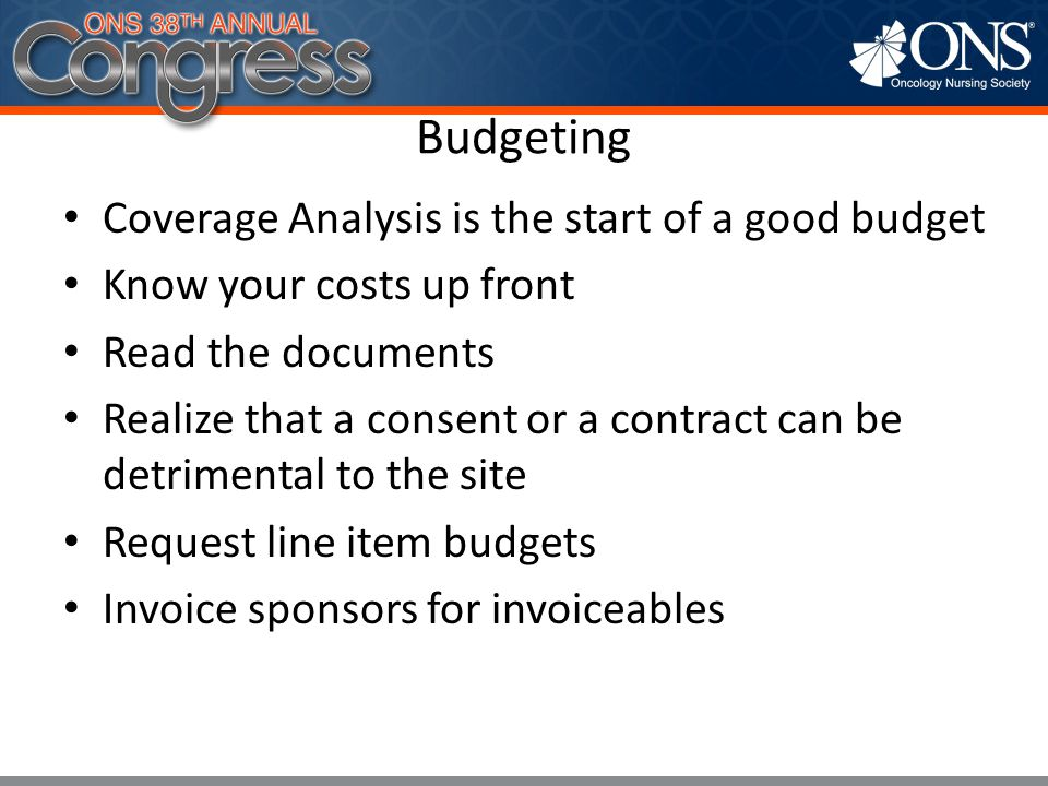 Budgeting Coverage Analysis is the start of a good budget