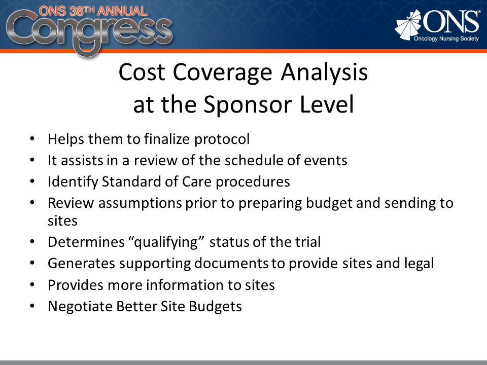 Cost Coverage Analysis at the Sponsor Level