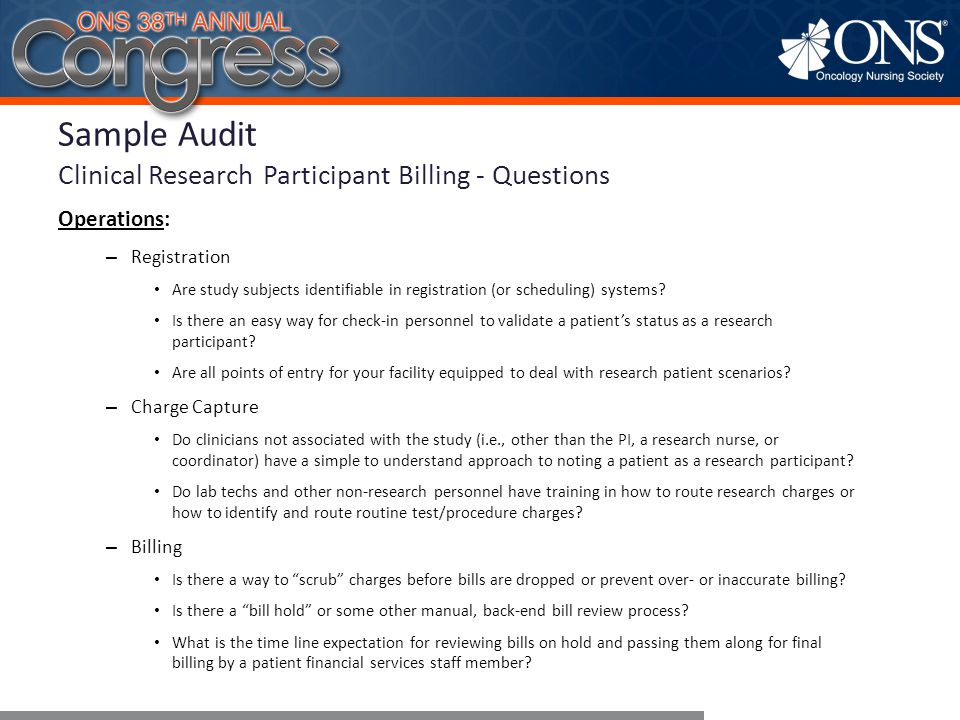 Sample Audit Clinical Research Participant Billing - Questions