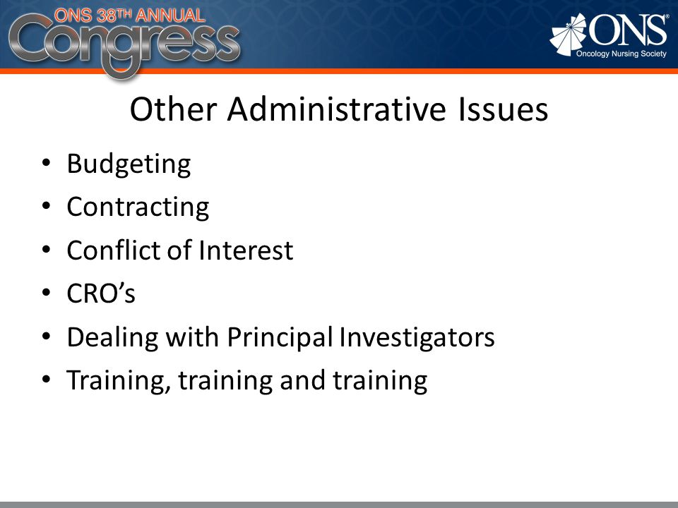 Other Administrative Issues