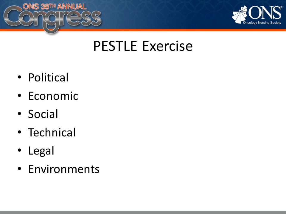 PESTLE Exercise Political Economic Social Technical Legal Environments