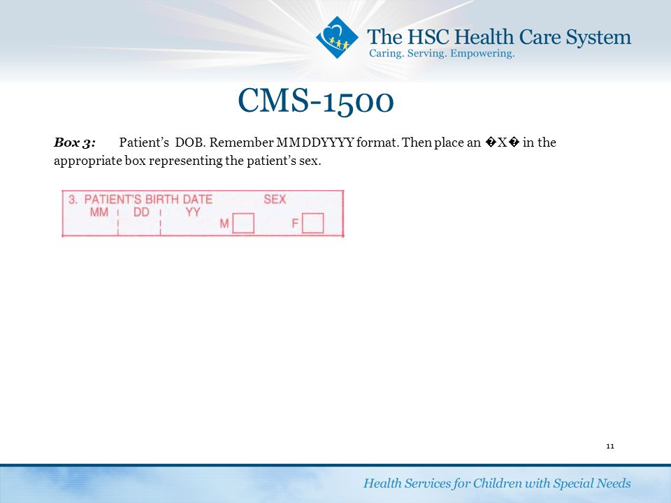 CMS-1500 Box 3: Patient's DOB. Remember MMDDYYYY format.