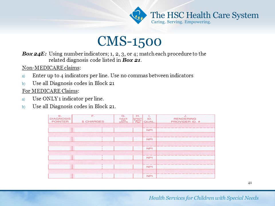 CMS-1500 Box 24E: Using number indicators; 1, 2, 3, or 4; match each procedure to the related diagnosis code listed in Box 21.