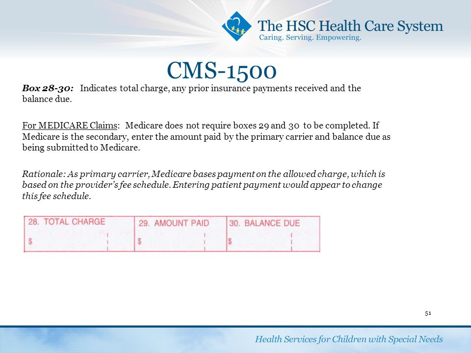 CMS-1500 Box 28-30: Indicates total charge, any prior insurance payments received and the balance due.
