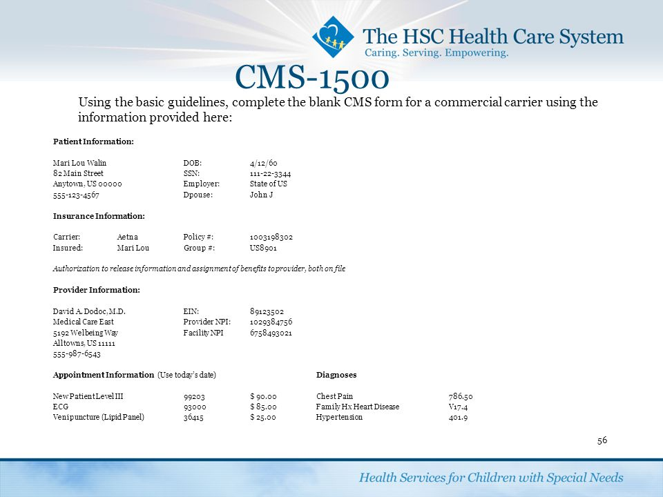 Completing a CMS 1500 Form. - ppt video online download