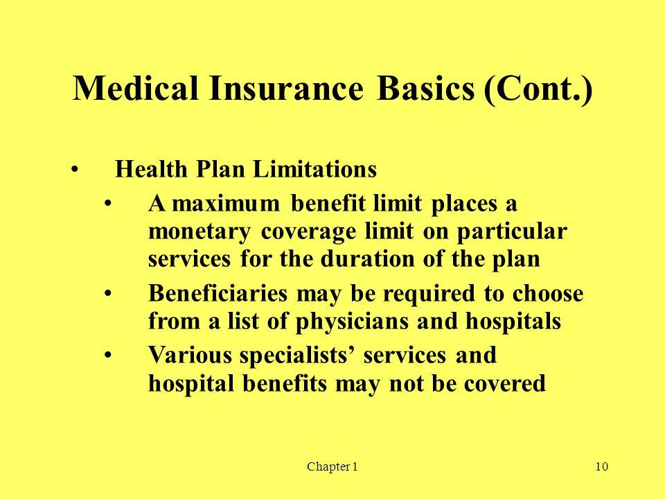 Medical Insurance Basics (Cont.)