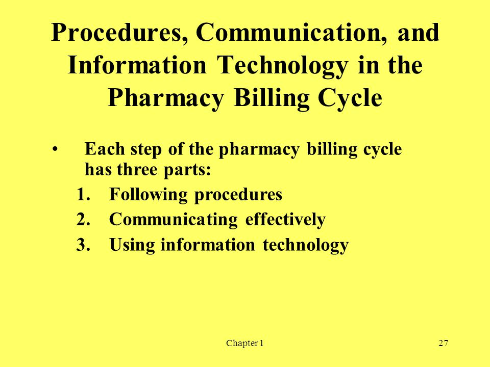 Procedures, Communication, and Information Technology in the Pharmacy Billing Cycle