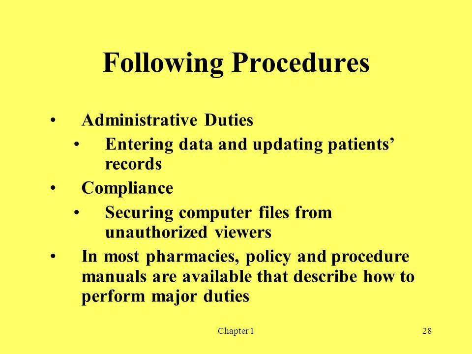Following Procedures Administrative Duties