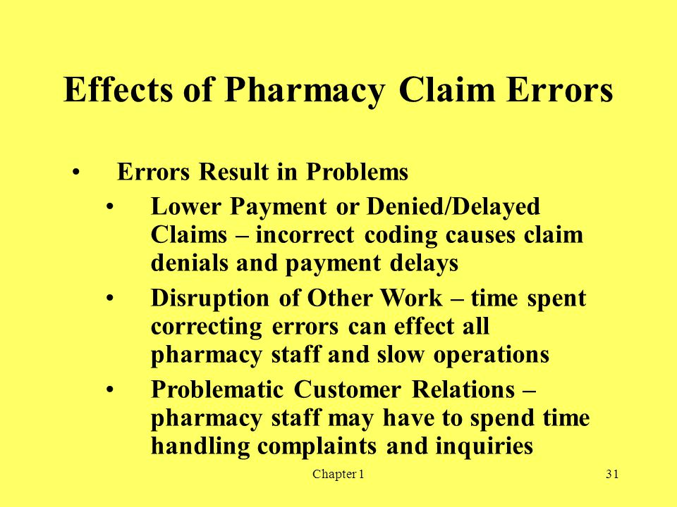 Effects of Pharmacy Claim Errors