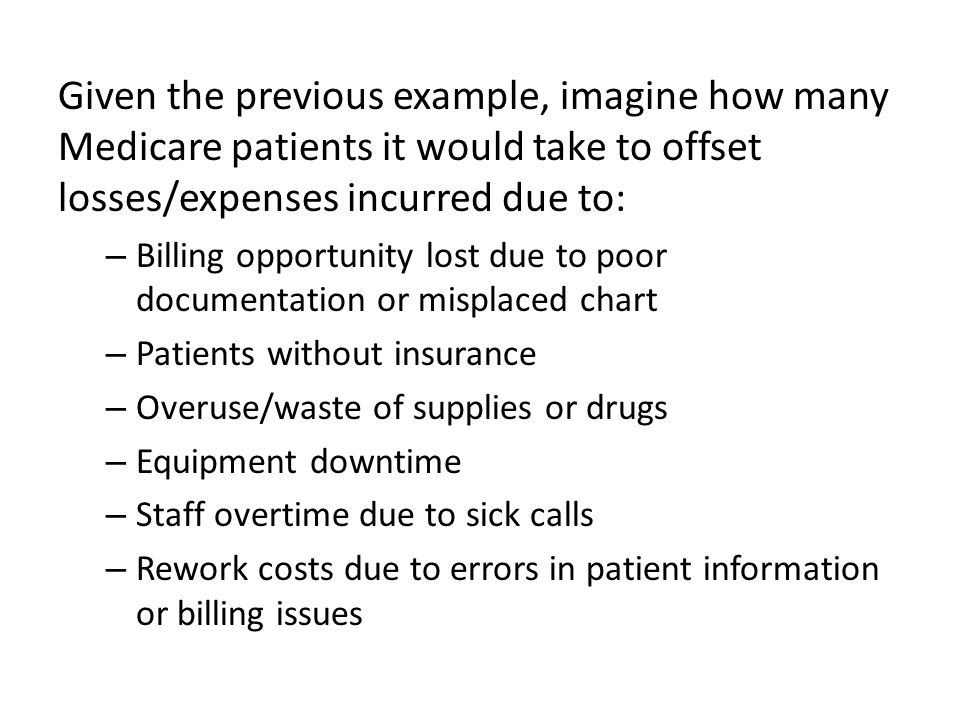 Given the previous example, imagine how many Medicare patients it would take to offset losses/expenses incurred due to: