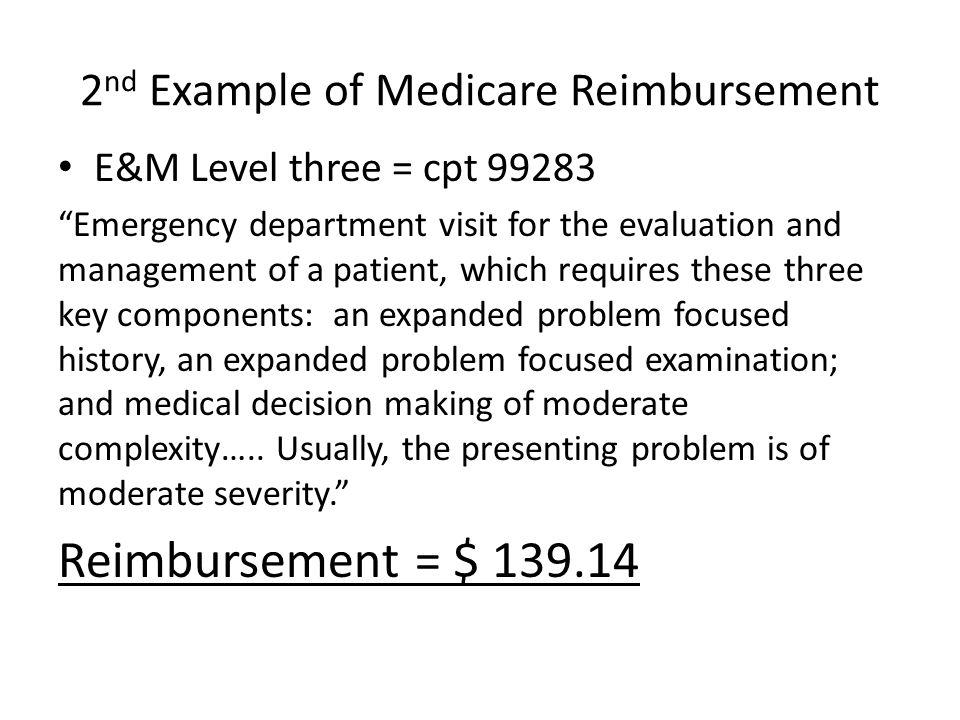 2nd Example of Medicare Reimbursement