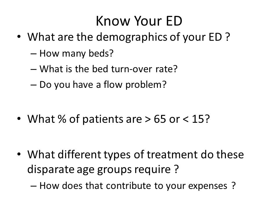 Know Your ED What are the demographics of your ED