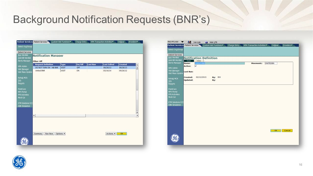 Background Notification Requests (BNR's)