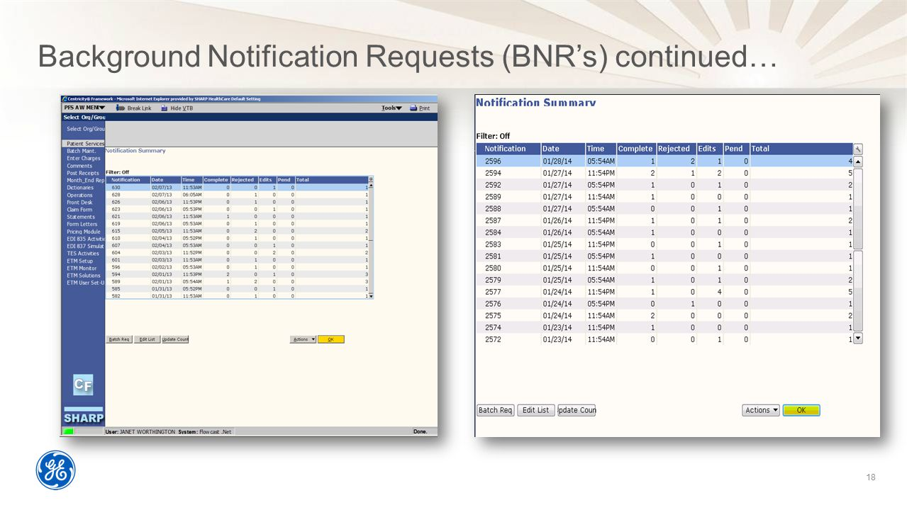Background Notification Requests (BNR's) continued…