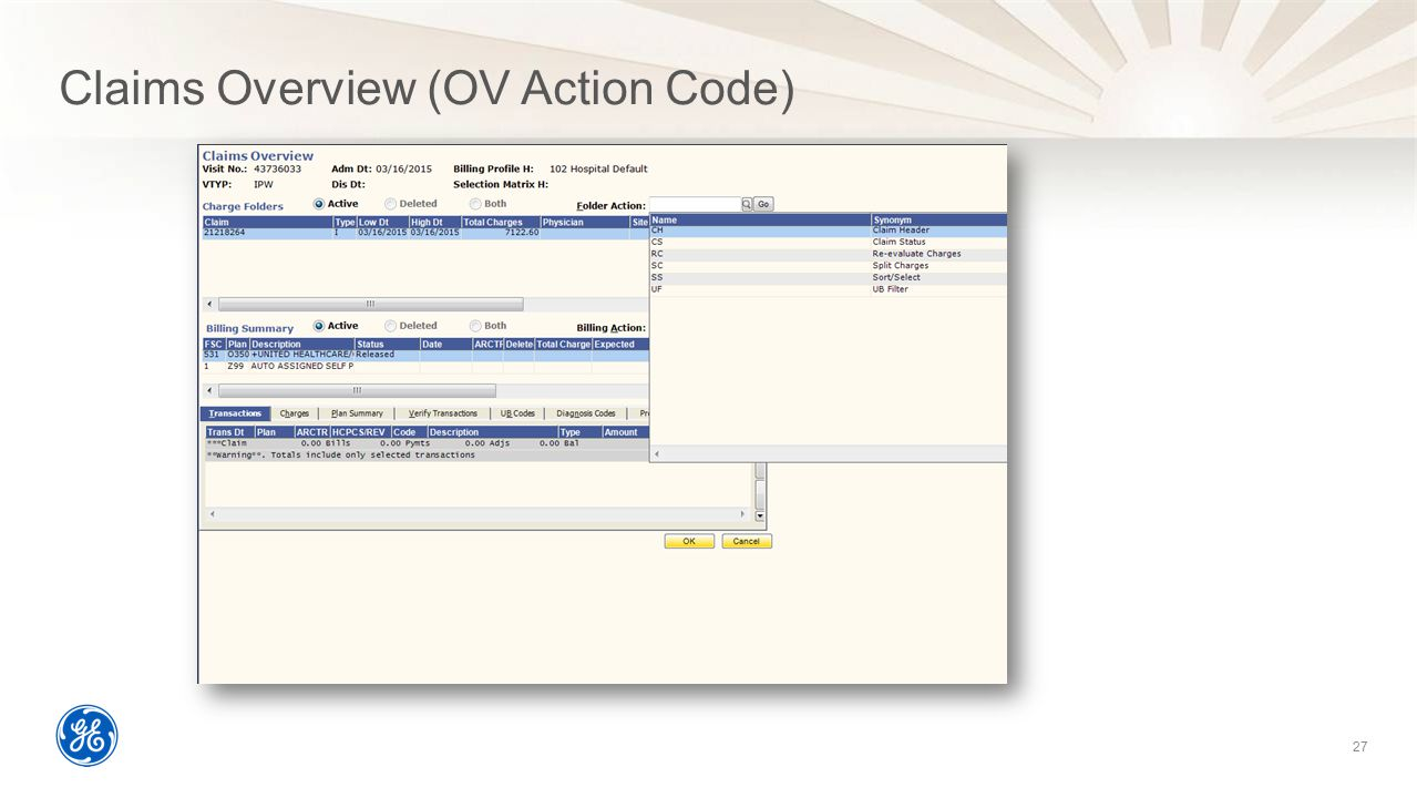 Claims Overview (OV Action Code)