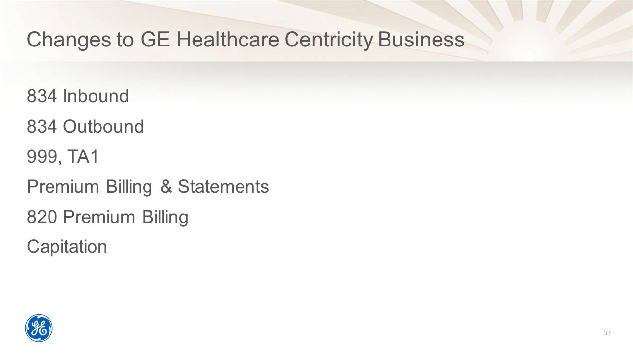 Changes to GE Healthcare Centricity Business