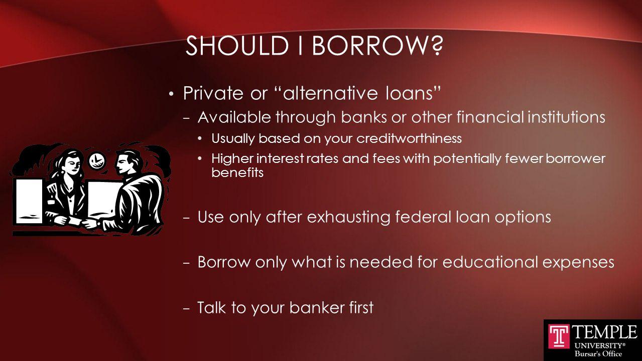 Should I Borrow Private or alternative loans