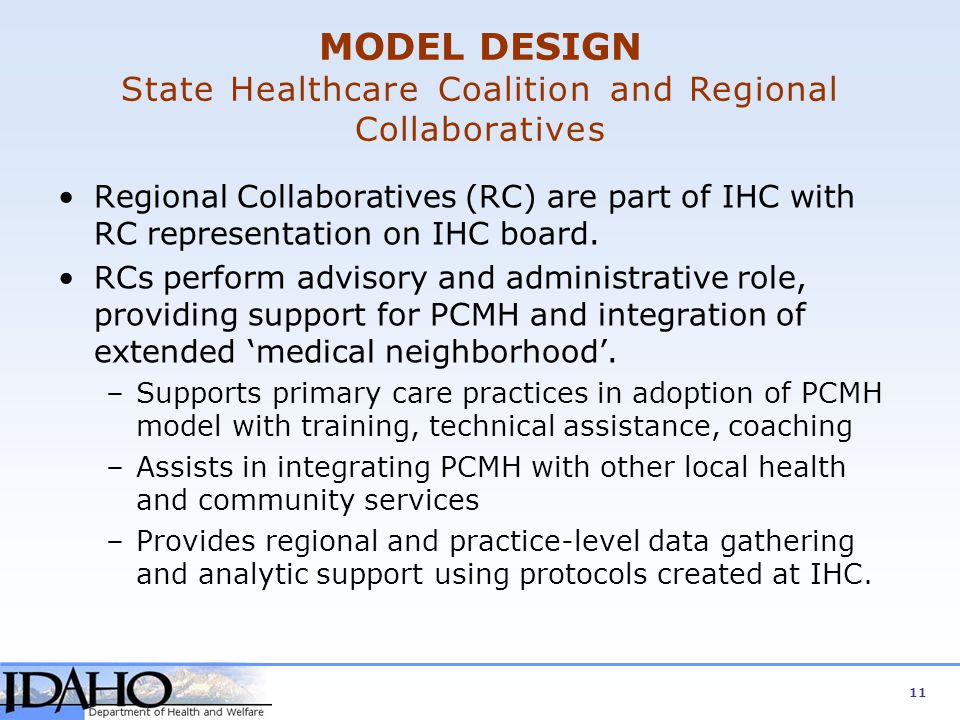 MODEL DESIGN State Healthcare Coalition and Regional Collaboratives