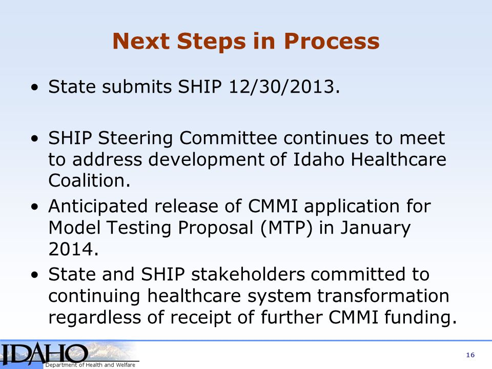 Next Steps in Process State submits SHIP 12/30/2013.