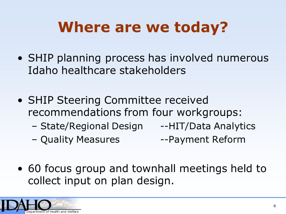 Where are we today SHIP planning process has involved numerous Idaho healthcare stakeholders.