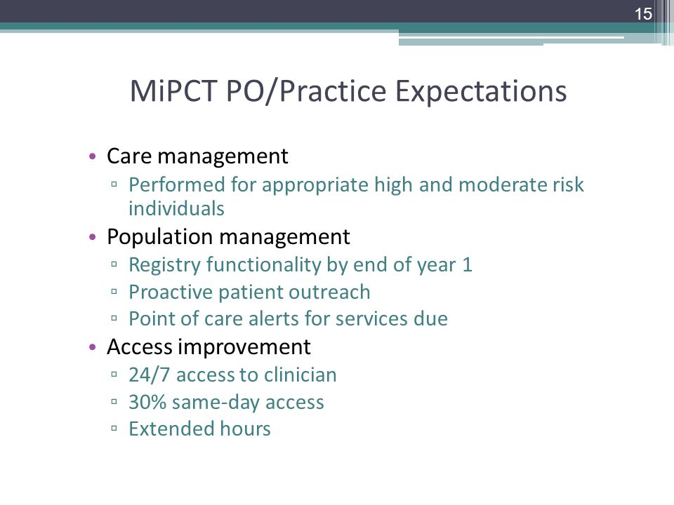 MiPCT PO/Practice Expectations