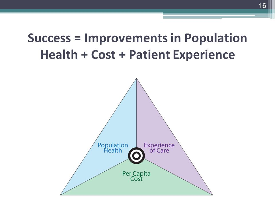 Success = Improvements in Population Health + Cost + Patient Experience