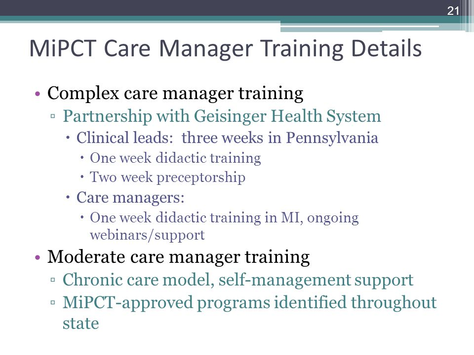 MiPCT Care Manager Training Details