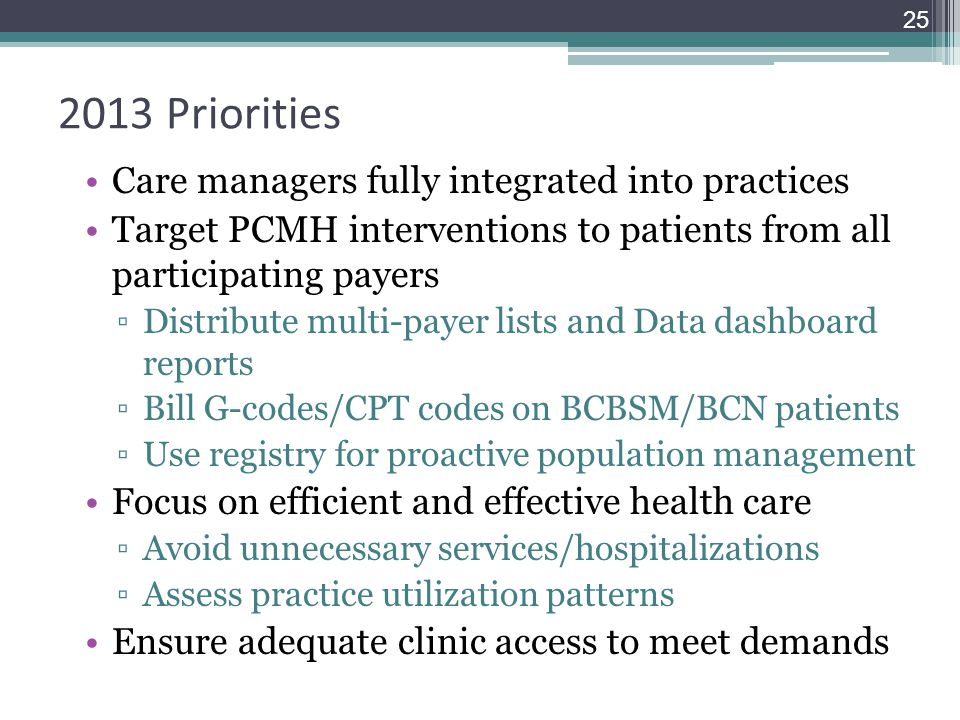 2013 Priorities Care managers fully integrated into practices