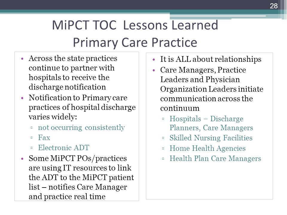 MiPCT TOC Lessons Learned Primary Care Practice
