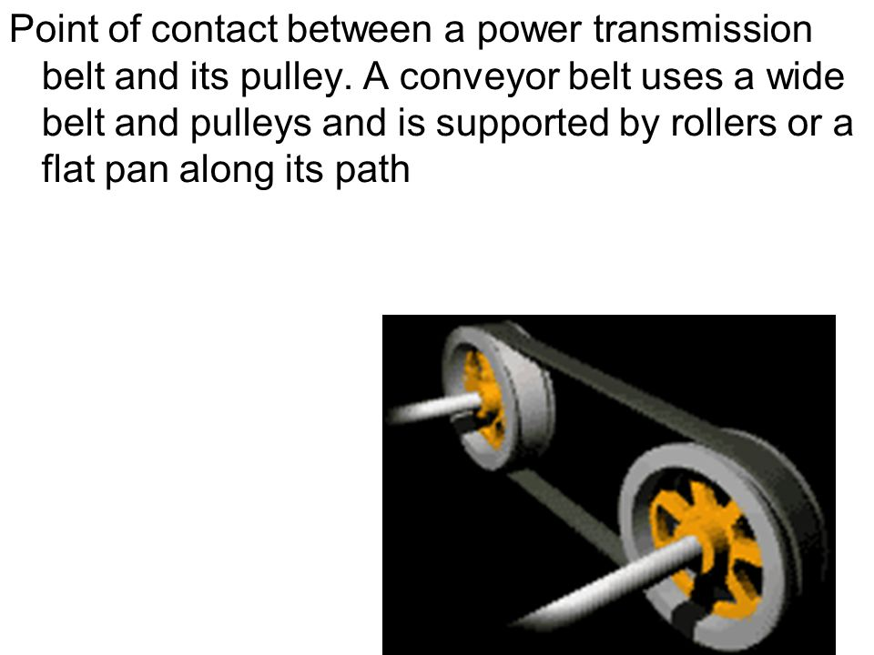 Point of contact between a power transmission belt and its pulley